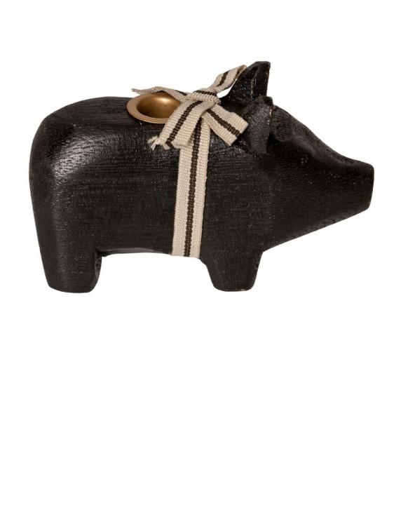 Kleines Holzschwein schwarz